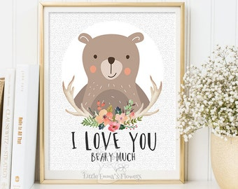 Woodland Nursery wall art print  illustration enfant Printable bear Decor bear nursery decoration quotes valentines print I love you beary