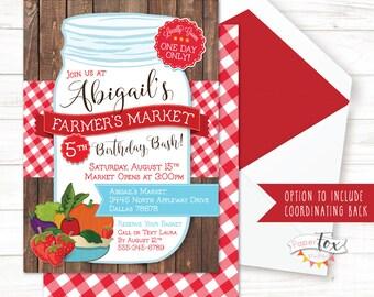 Farmers Market Birthday / Farmers Market Birthday Invitation / Farm Birthday Invitation / Farmers Market Party / Birthday Invite / DIGITAL