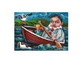 ACEO Original ATC Miniature Acrylic Painting Clown Row Boat Teacups Sea Gull SFA [Not a Print] Ohio Gulat