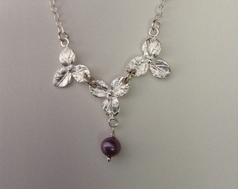 Sterling Flower and Pearl Necklace