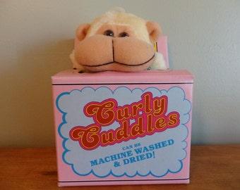 Curly Cuddles Vintage Monkey stuffed animal washable animal toy comes in cardboard washing machine