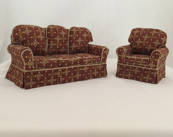 Dollhouse Miniature Living Room Furniture: Handmade, Matching sofa and easy chair.  custom made