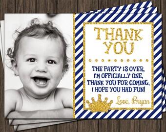 Prince Thank You Card -  Royal Blue First Birthday Thank You Card