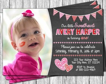 Valentine Birthday Invitation - Valentines Day Birthday Invitations - Sweetheart Birthday Invitation
