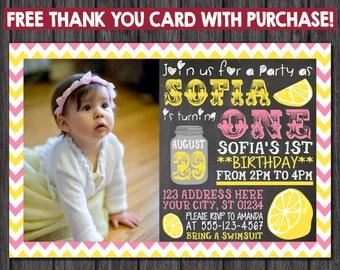 Pink Lemonade Birthday Invitation with Free Thank You Card