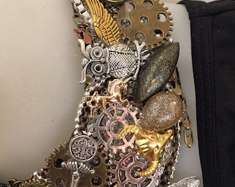 GRANNY'S ATTIC steampunk gold copper and silver statement bib necklace