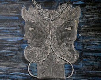 Janus done in colored and white drawing chalk