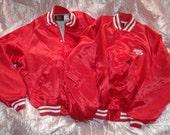 Vintage Satin Jacket ~~Buy 1 Get 1 FREE~~ Hip Hop Bomber 1980s Red/White Banded Cuffs Waist/Neckline OldSchool Mens L/Large 44-46 NEVER WORN