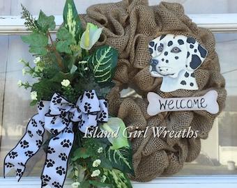 Dalmatian Burlap Wreath, Pet Burlap Wreath, Dog Wreath, Dalmatian Dog, Pet welcome Wreath