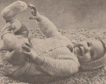 Crochet baby onsie one piece sleeper with booties and hat vintage 1969 1960s instant download