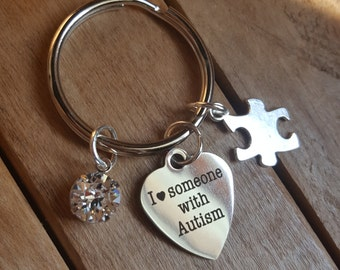 Autism awareness keychain, autism mom gift, autism awareness keychain, puzzle peice charm keychain, autism support gift idea