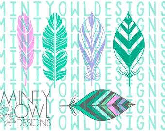 Cricut SVG - Feather SVG Cut File Set - Tribal Feathers - Bohemian - Boho - Tribal - Cut Files - Silhouette - Wall Decor - Printable - Decal
