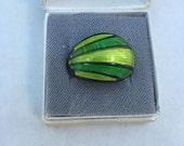 Sale Ends July 5 11pm David Andersen Sterling Silver Green Enamel Ring  -  Vintage