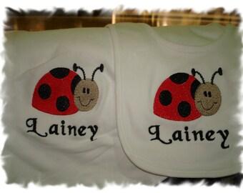 Cute Ladybug Personalized Infant Toddler Baby Blanket & Bib Set  Any color