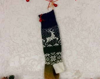 knitted christmas-knit stocking-rustic stockings-family christmas-country stockings-wool christmas -deer socks christmas-rustic stockings