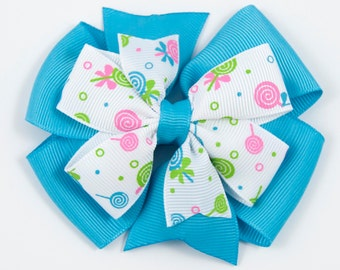 Candy Hair Bow, Turquoise Hair Bow, Lollipop Hair Bow, Turquoise Candy Hair Bow, Stacked Pinwheel Hair Bow (Item #10180)