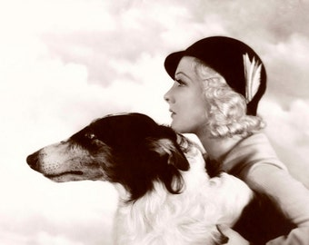 Art Deco Lady & Hound Dog  A4  Photo Print from vintage photograph by Alfred  Cheney Johnston of Ziegfield Follies Fame