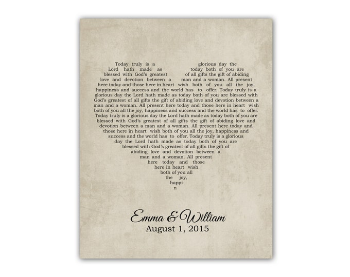 Wedding Gift, Song Lyrics, Personalized Wedding Gift for Couples, Unique, Custom Artwork, Wedding Vows, Art, Print, For Him Her, Anniversary