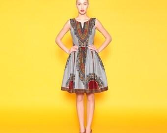 Grey Skater Dress, Angelina Print Dress, Grey Dashiki Dress, Short Summer Dress, Short Grey Dress, Grey African Print Dress, Ankara Dress