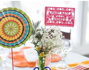 Fiesta Wedding Decorations, Papel Picado Flags, Mexican Wedding, Fiesta Banners, Cinco de Mayo, Paper Cut Fiesta Decorations, Set of 12