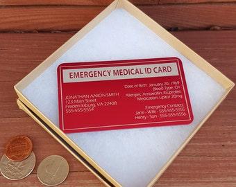 Personalized Metal Alert Emergency Medical ID Card, Wallet Insert, Medical Alert Wallet Card,Medical ID Card,Medical ID Tag