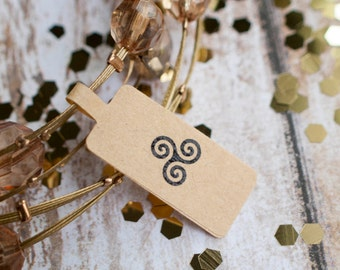 Triple spiral price tag paper sticker label brown kraft