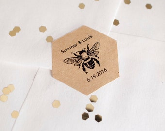 Custom hexagon bee brown kraft stickers