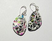 White, Black, Lime, and Pink Abstract Design Lightweight Polymer Clay Earrings by Carol Wilson of Je t'adorn