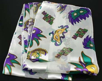 Mardi Gras Purple, Green, and Gold white Scarf  CARNIVAL