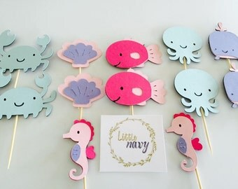 Handmade Cupcake Toppers - Girl Under The Sea Theme x12
