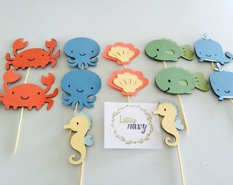 Handmade Cupcake Toppers - Under The Sea Theme x12