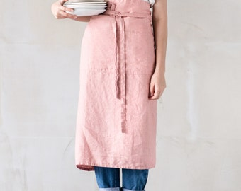 Long / garcon linen apron / Washed handmade linen chef / bistro apron in blossom-peach