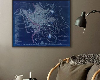 """Map of Rome 1830, Vintage Rome Map, Blue or Sepia, 3 sizes up to 30x24"""" (75x60 cm) Roma Italy Stylish map - Limited Edition of 100"""