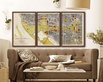 """Washington DC Map 1917, Large vintage map of National Mall in 4 sizes up to 72x36"""" (180x90cm) in 1 or 3 parts - Limited Edition of 100"""