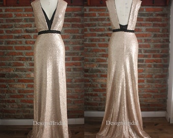 Prom Sequin Dress with train,NYE Evening Dress Black Lace Sash,Double V Neck Dress,Sexy Evening Gown Long,Women Formal Evening Dress