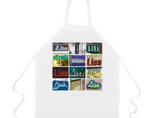 Custom Apron featuring the name LISA in photos of actual signs; Personalised aprons; Cooking aprons; Kitchen aprons; Chef aprons