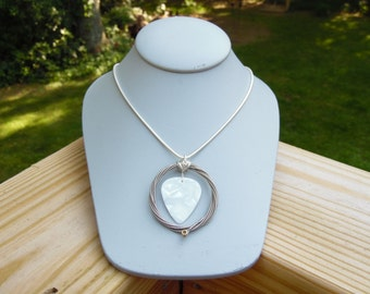White Guitar Pick Necklace