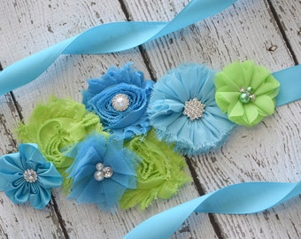 Flower Sash,turquoise and lime  Sash , flower Belt, maternity sash