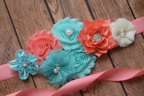 Sash, Aqua , coral and ivory Sash, #3 , flower Belt, maternity sash