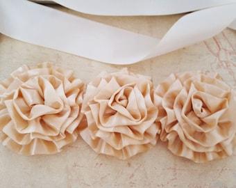 Ivory and Gold Bridal Sash, Ivory and Gold Bridal Belt, Bridal Sash, Gold Wedding Sash. Satin Bridal Belt