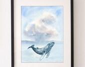 A4 Whale & Cloud Print, Whale, Whale Print, Whale Illustration, Wall Art, Water Colour, Nursery Art, Water Color, Nursery Print, Fine Art