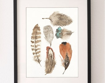 A3 Feather Print, Art Print, Feather Art, Feathers, Wall Art, Feather Art, Feather Painting, Watercolour Feathers, Fine Art, Watercolor