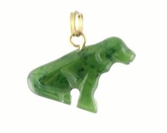 Canadian Nephrite Jade Charm, Dog Sitting