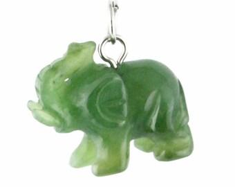 Canadian Nephrite Jade Elephant Charm