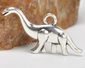 Dinosaur silver Tibetan charm 8 charms 3D dino charm