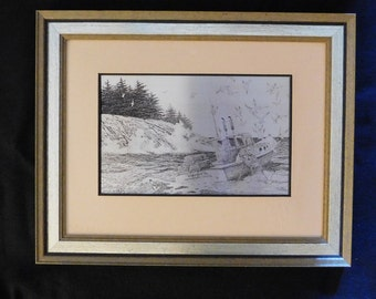 "Franklin Mint Jamie Wyeth Sterling Silver ""Coast of Maine"" Silverscene Sculpture Art Wooden Frame Vintage Wall Print Poster, Only 3500 Made"