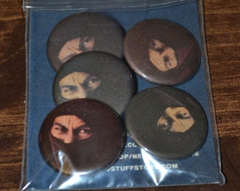 """Vintage """"NINJAS"""" Comic Buttons - Pack of five 1.25"""" Buttons"""