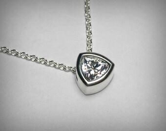 Imitation Diamond Necklace Pendant, Cubic Zirconia CZ Necklace Pendant, Sterling Silver Round Solitaire Simulated Diamond Necklace Bezel Set