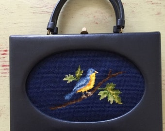 Vintage Jacmore Co., New York Rare Navy Leather Kelly Handbag with Oval Bird Needlepoint Inset