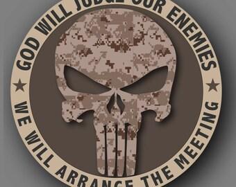 Punisher Marine Desert Camouflage Die Cut Vinyl Decal Sticker